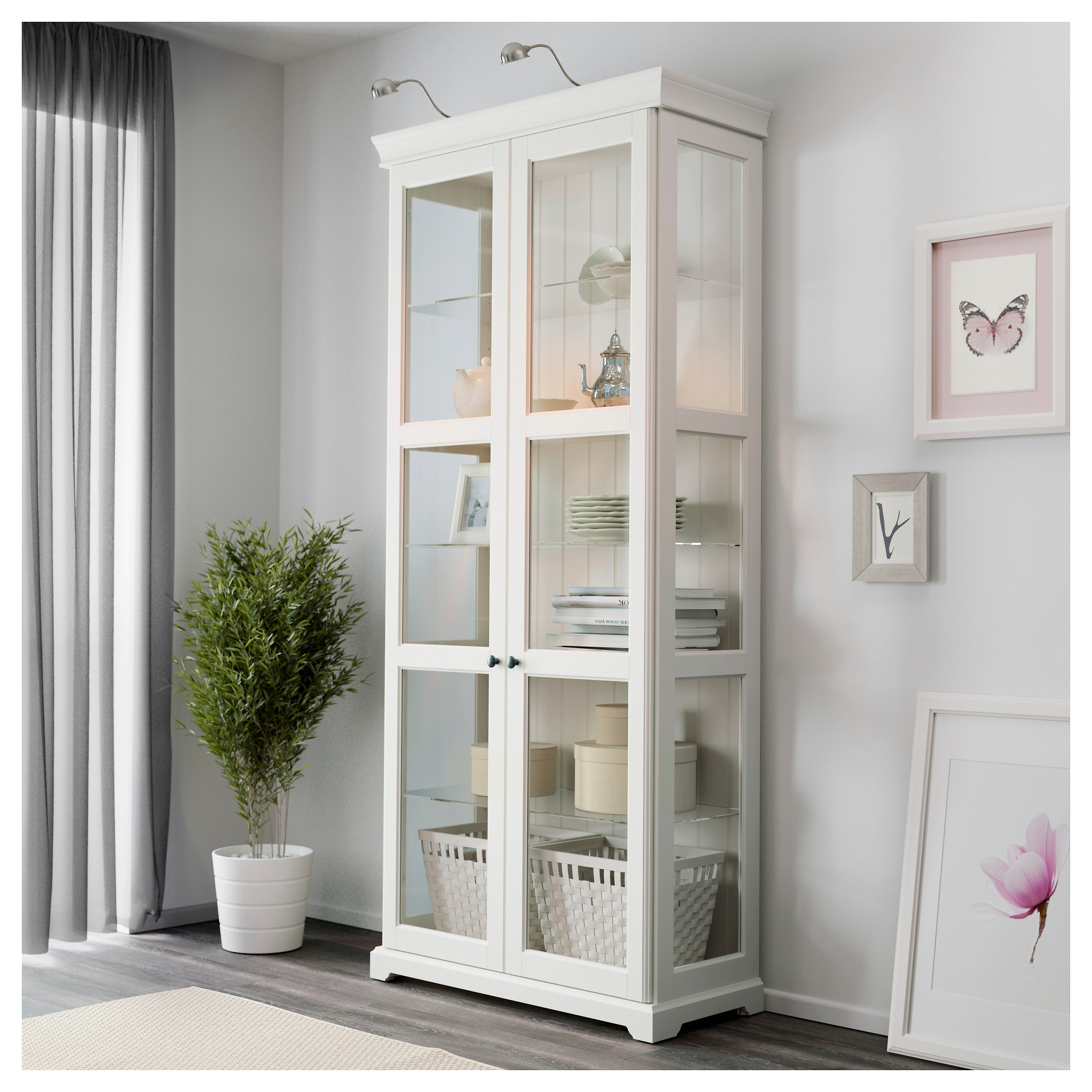 Dish Display Cabinet Liatorp Glass Door Cabinet White 37 3 4x84 1 4 Ikea
