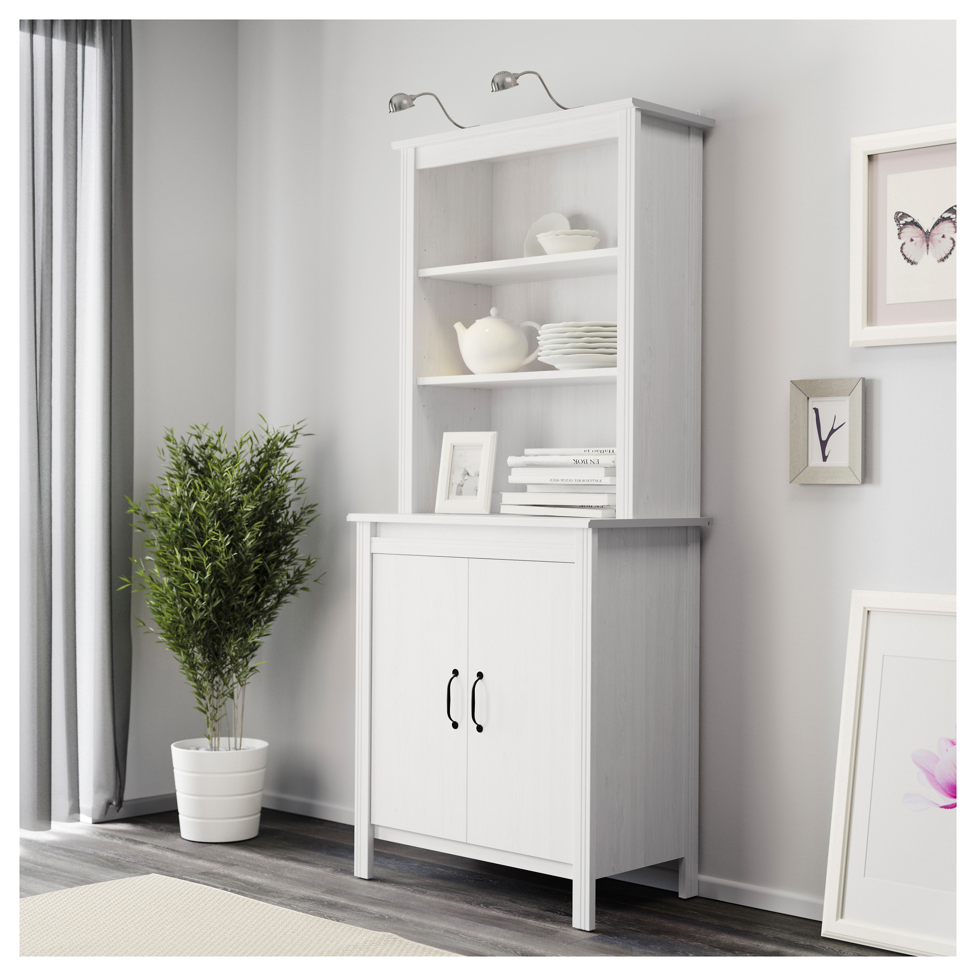 BRUSALI High cabinet with doors - white - IKEA