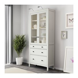 HEMNES Glass Door Cabinet With 3 Drawers, White Stain
