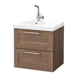 "GODMORGON /  EDEBOVIKEN sink cabinet with 2 drawers, walnut effect walnut Width: 24 3/8 "" Sink cabinet width: 23 5/8 "" Depth: 19 1/4 "" Width: 62 cm Sink cabinet width: 60 cm Depth: 49 cm"