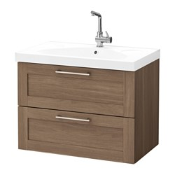 GODMORGON /  EDEBOVIKEN wash-stand with 2 drawers, walnut effect walnut Width: 82 cm Wash-stand width: 80 cm Depth: 49 cm