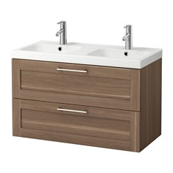 "GODMORGON /  ODENSVIK sink cabinet with 2 drawers, walnut effect walnut Width: 40 1/2 "" Sink cabinet width: 39 3/8 "" Depth: 19 1/4 "" Width: 103 cm Sink cabinet width: 100 cm Depth: 49 cm"