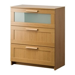BRIMNES chest of 3 drawers, frosted glass, oak effect Width: 78 cm Depth: 41 cm Height: 95 cm