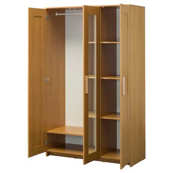 BRIMNES Wardrobe with 3 doors - oak effect - IKEA