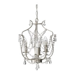 "KRISTALLER chandelier, 3-armed, silver color, glass Max.: 40 W Height: 68 "" Diameter: 13 "" Max.: 40 W Height: 1 m 72 cm Diameter: 32 cm"