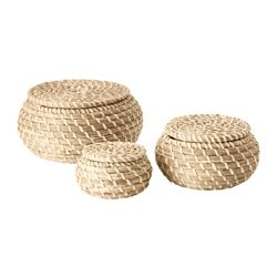 FRYKEN, Box with lid, set of 3, seagrass sea grass