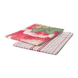 INBJUDANDE tea towel, flower, squared pattern Length: 70 cm Width: 50 cm Package quantity: 2 pack
