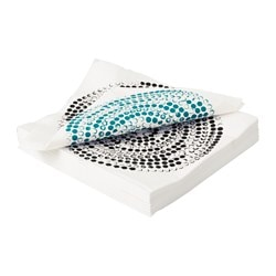 MEDHÅLL paper napkin, circle black, turquoise Length: 33 cm Width: 33 cm Package quantity: 30 pieces