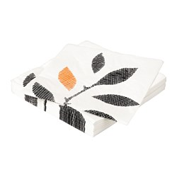 ODELAD paper napkin, leaves black Length: 33 cm Width: 33 cm Package quantity: 30 pieces