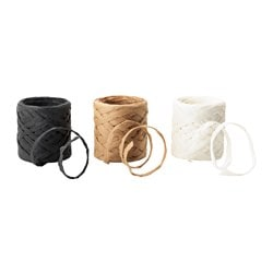 GIVANDE ribbon, natural, white black Length: 15 m Width: 0.5 cm Package quantity: 3 pack