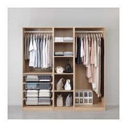 PAX wardrobe, white stained oak effect Width: 200.0 cm Depth: 58.0 cm Height: 201.2 cm
