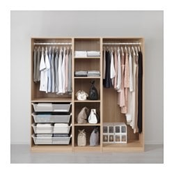 PAX wardrobe, white stained oak effect