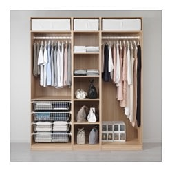PAX wardrobe, white stained oak effect Width: 200.0 cm Depth: 58.0 cm Plinth, height: 236 cm