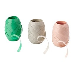 KRUSIDULLER gift ribbon, grey, pink green Length: 20 m Width: 0.7 cm Package quantity: 3 pack