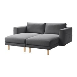 NORSBORG sectional, 2-seat, Finnsta dark gray, birch