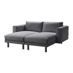 "NORSBORG 2 chaises, gray, Finnsta dark gray Width: 74 "" Depth: 61 3/4 "" Height under furniture: 7 1/8 "" Width: 188 cm Depth: 157 cm Height under furniture: 18 cm"