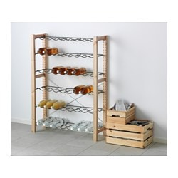 "IVAR 1 section unit with bottle racks, gray, pine Width: 35 "" Depth: 11 3/4 "" Height: 48 7/8 "" Width: 89 cm Depth: 30 cm Height: 124 cm"