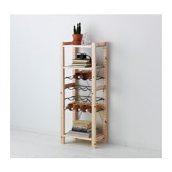 IVAR 1 section/shelves/bottle racks, grey, pine Width: 48 cm Depth: 30 cm Height: 124 cm