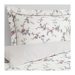 "STENÖRT duvet cover and pillowcase(s), flower Thread count: 250 square inches Pillowcase quantity: 2 pack Duvet cover length: 86 "" Thread count: 250 square inches Pillowcase quantity: 2 pack Duvet cover length: 218 cm"