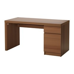 MALM desk, brown stained ash veneer Width: 140 cm Depth: 65 cm Height: 73 cm