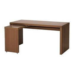 MALM desk with pull-out panel, brown stained ash veneer