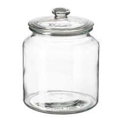 "VARDAGEN jar with lid, clear glass Diameter: 5 ¾ "" Height: 7 ¼ "" Volume: 64 oz Diameter: 15 cm Height: 18 cm Volume: 1.9 l"