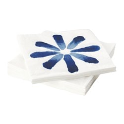 SOMMAR 2016 paper napkin, flower white, blue Length: 33 cm Width: 33 cm Package quantity: 30 pieces