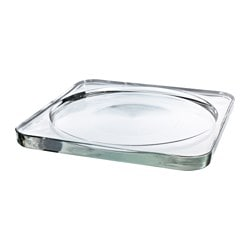 GLASIG candle dish, clear glass Length: 28 cm Width: 28 cm Height: 2.2 cm