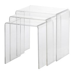 JÄPPLING nest of tables, set of 3, transparent