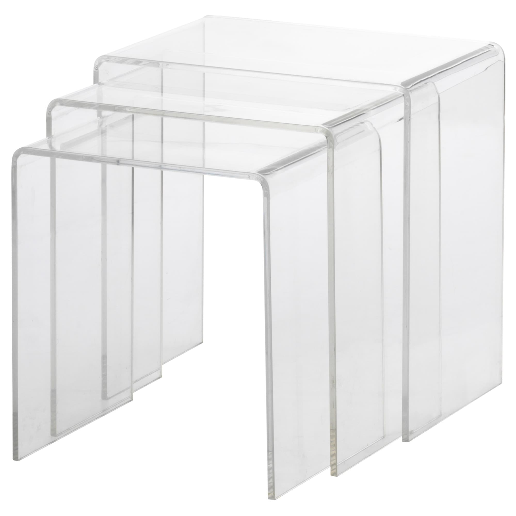 Table Basse Transparente Ikea.Tables Gigognes Lot De 3 Jappling Transparent