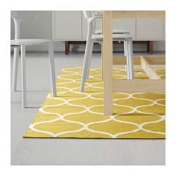Stockholm Rug Flatwoven Net Pattern Handmade Yellow Ikea Family Member Price