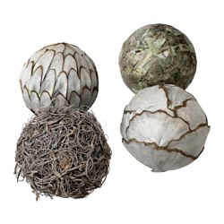 SOMLIG decoration, ball, grey Diameter: 9 cm Package quantity: 4 pack