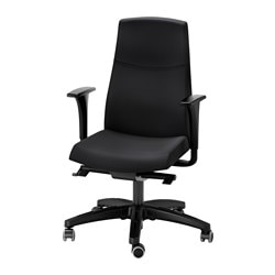 "VOLMAR swivel chair with armrests, black Tested for: 242 lb 8 oz Width: 29 1/8 "" Depth: 29 1/8 "" Tested for: 110 kg Width: 74 cm Depth: 74 cm"