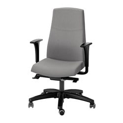 VOLMAR swivel chair with armrests, grey