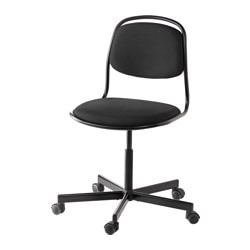 "ÖRFJÄLL /  SPORREN swivel chair, black Tested for: 243 lb Width: 25 5/8 "" Depth: 25 5/8 "" Tested for: 110 kg Width: 65 cm Depth: 65 cm"