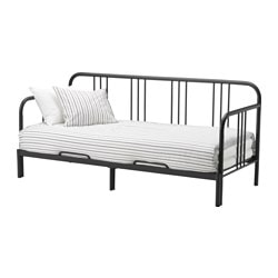 FYRESDAL, Day-bed with 2 mattresses, black, Husvika firm