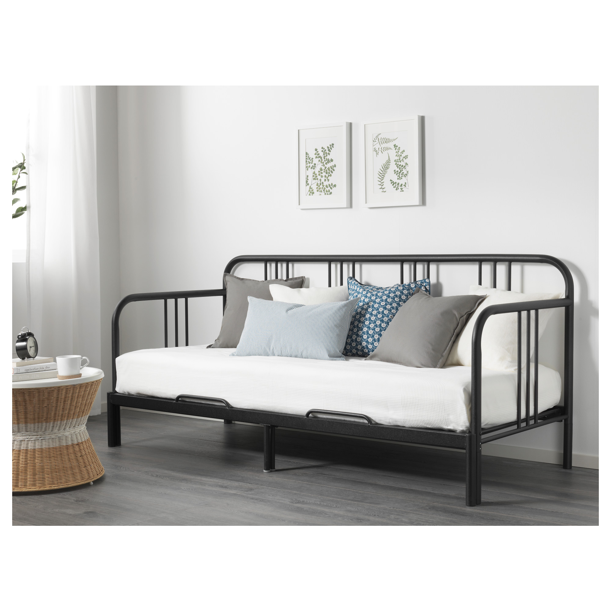 FYRESDAL Daybed with 2 mattresses black Husvika firm IKEA