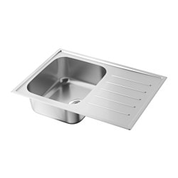 BOHOLMEN 1 bowl insert sink drain+str/wtrap, stainless steel Length: 70 cm Depth: 50 cm Height: 18 cm