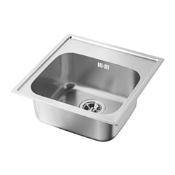 BOHOLMEN single-bowl inset sink, stainless steel Length: 48.0 cm Depth: 50.0 cm Height: 18 cm