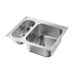 BOHOLMEN inset sink 1 1/2 bowl, stainless steel Length: 60 cm Depth: 50 cm Height: 18 cm