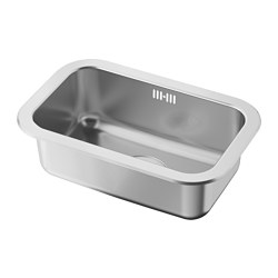 BOHOLMEN single-bowl inset sink, stainless steel Length: 46.6 cm Depth: 30.0 cm Height: 15.7 cm