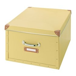 FJÄLLA box with lid, yellow Depth including handle: 56 cm Width: 40 cm Depth: 50 cm