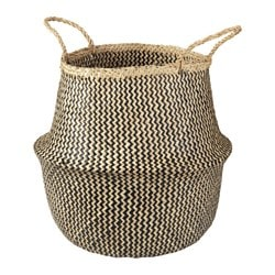"FLÅDIS basket, black, seagrass Diameter: 14 5/8 "" Min. height: 9 7/16 "" Height: 16 1/8 "" Diameter: 37 cm Min. height: 24 cm Height: 41 cm"