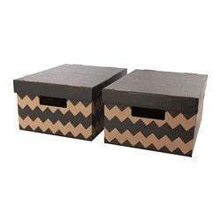 PINGLA box with lid, natural, black Width: 28 cm Depth: 37 cm Height: 18 cm