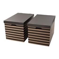 PINGLA box with lid, natural, black Width: 56 cm Depth: 37 cm Height: 36 cm