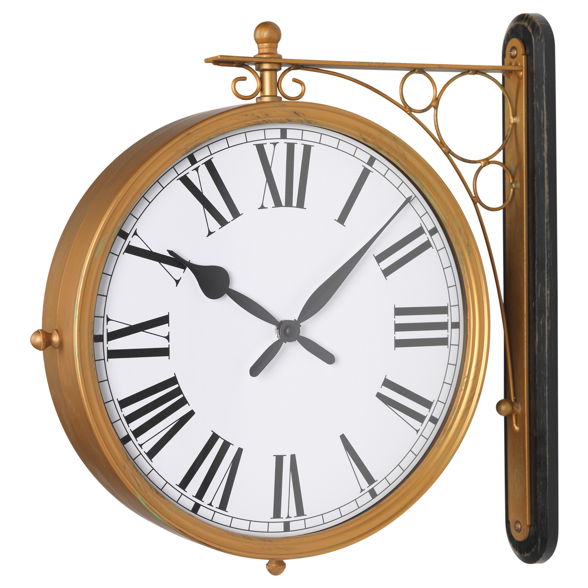 KLADDIS Wall Clock Double Sided Brass Colour Height 40 Cm Diameter 30