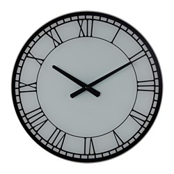 KNODDAR wall clock, glass Diameter: 40 cm