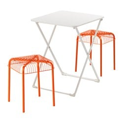 HÄRÖ /  VÄSTERÖN table and 2 stools, outdoor, orange, white