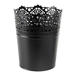 "SKURAR plant pot, black, indoor/outdoor Outside diameter: 4 ¾ "" Max. diameter inner pot: 4 ¼ "" Height: 6 "" Outside diameter: 12 cm Max. diameter inner pot: 10.5 cm Height: 15 cm"