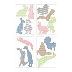 KLÄTTA decorative stickers, scampering animals